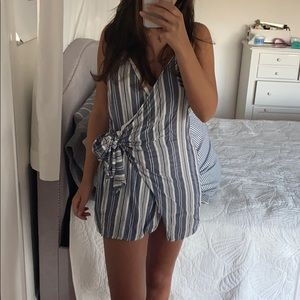 Blue and white front tie dress